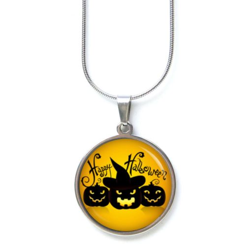 Edelstahl Kette Happy Halloween böser Kürbis orange schwarz