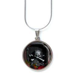 Edelstahl Kette Halloween grusel Totenkopf Sarg schwarz rot