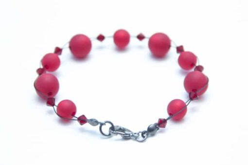 Perlen Armband Rubinrot