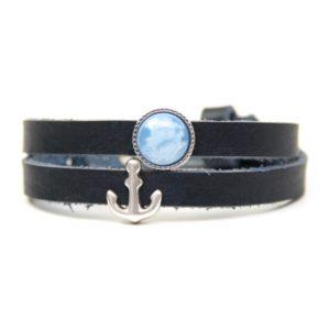 Wickelarmband aus Leder in dunkelblau mit Anker und blauer Polaris Schieberperlen