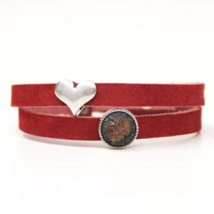 Wickelarmband aus Leder in rot mit Herz und Polaris Schiebeperle