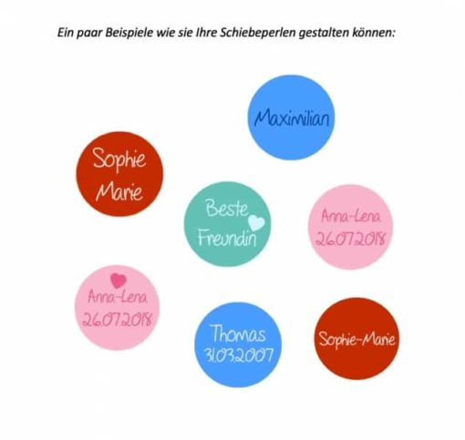 Schwarzes Lederarmband mit 3 Schiebeperlen - Wunschtext - Farbwahl
