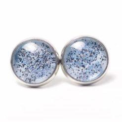 Druckknopf Ohrstecker Ohrhänger handbemalt blau glitzernd