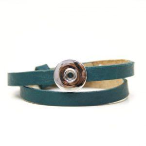 Druckknopf Lederarmband in grün türkis für 16mm Druckknöpfe