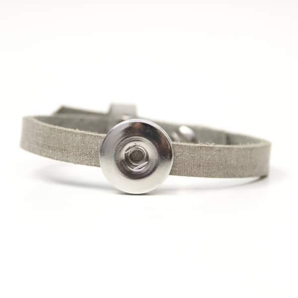 Druckknopf Lederarmband in grau für 16mm Druckknöpfe