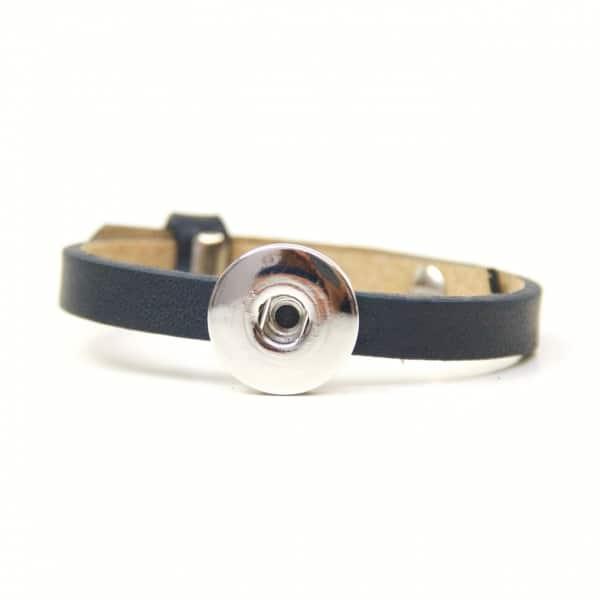 Druckknopf Lederarmband in dunkelblau für 16mm Druckknöpfe