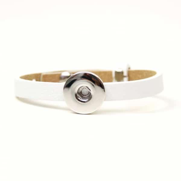 Druckknopf Lederarmband in weiß für 16mm Druckknöpfe