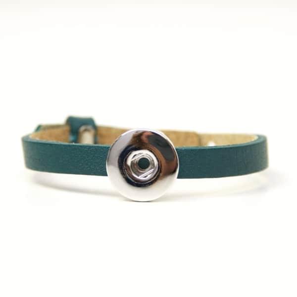 Druckknopf Lederarmband in türkis - grün für 16mm Druckknöpfe
