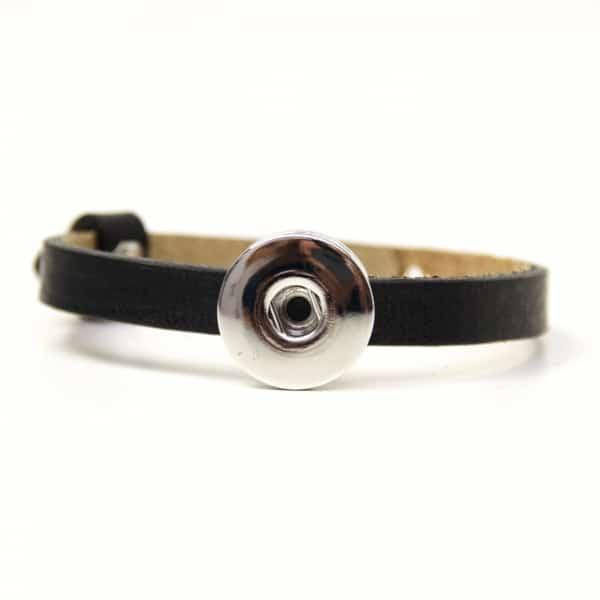 Druckknopf Lederarmband in schwarz für 16mm Druckknöpfe