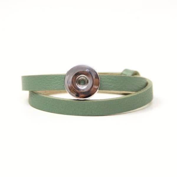 Druckknopf Lederarmband in grün für 16mm Druckknöpfe