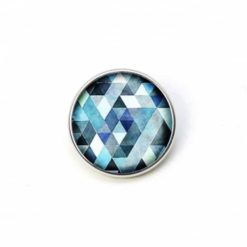 Druckknopf blau Mosaik Mandala Rauten Kaleidoskop