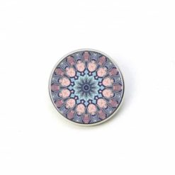 Druckknopf Mandala Mosaik in rosa, türkis und blau