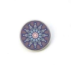 Druckknopf Mandala Mosaik Stern in rosa und blau