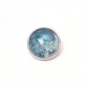 Druckknopf handbemalt in türkis und blau