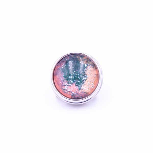 Druckknopf handbemalt grün, orange und lachsrosa für Druckknopfschmuck