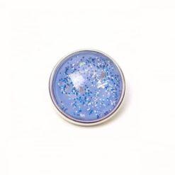 Druckknopf handbemalt in jeansblau mit Glitzer