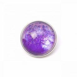 Druckknopf handbemalt lila Galaxie mit Glitzer