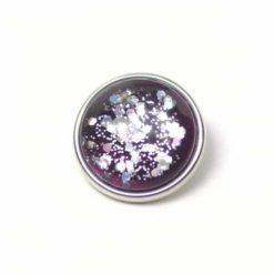 Druckknopf handbemalt violett mit silber Glitzer