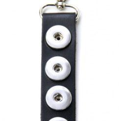Druckknopf Schlüsselanhänger Leder schwarz für 4x16mm Druckknöpfe