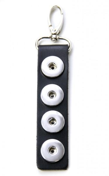 Druckknopf Schlüsselanhänger Leder schwarz für vier 16mm Druckknöpfe