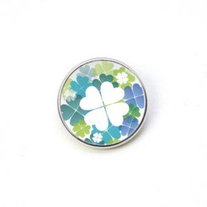 Druckknopf Kleeblatt Kleeblätter weiß blau und grün