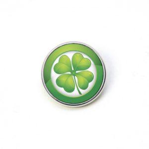 Druckknopf grün großes 4 blättriges Kleeblatt Kleeblätter St. Patricks Day