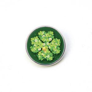 Druckknopf grün großes 4 blättriges Kleeblatt Kleeblätter mit Münze