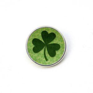 Druckknopf grün großes Kleeblatt Kleeblätter St. Patricks Day