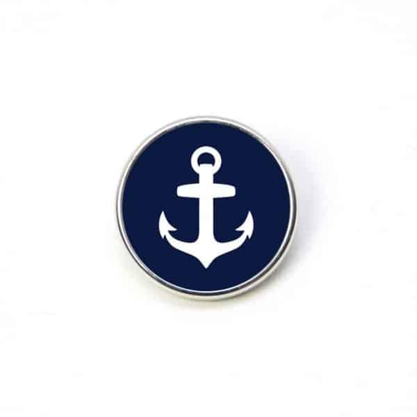 Druckknopf Anker dunkelblau weiß maritim Meer 16mm und 10mm Mini Druckknopf