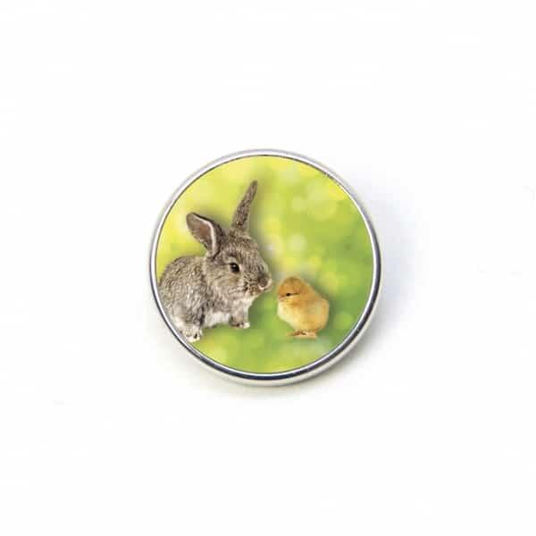Druckknopf Hase Kaninchen Ostern Osterhase mit Kücken