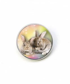 Druckknopf zwei Hase Kaninchen Ostern Osterhase