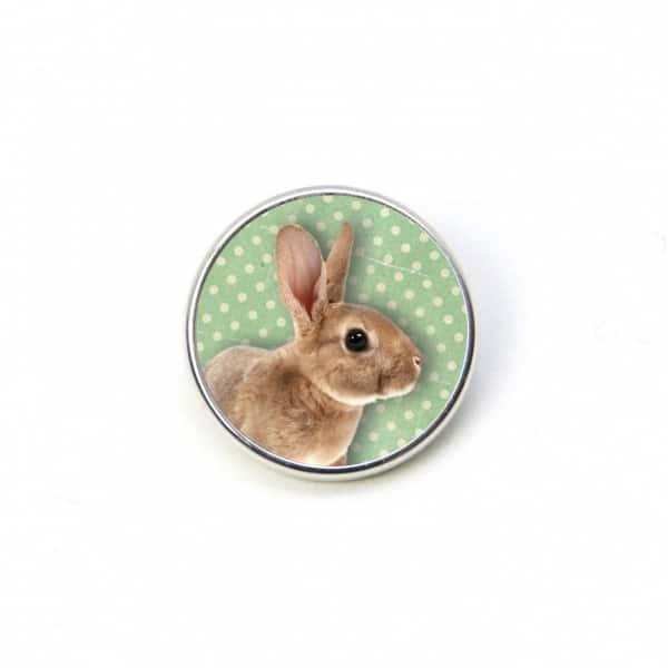 Druckknopf Hase Kaninchen Ostern Osterhase grün mit Punkten