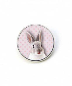 Druckknopf Hase Kaninchen Ostern Osterhase rosa mit Punkten