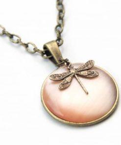 Vintage Halskette apricott Libelle