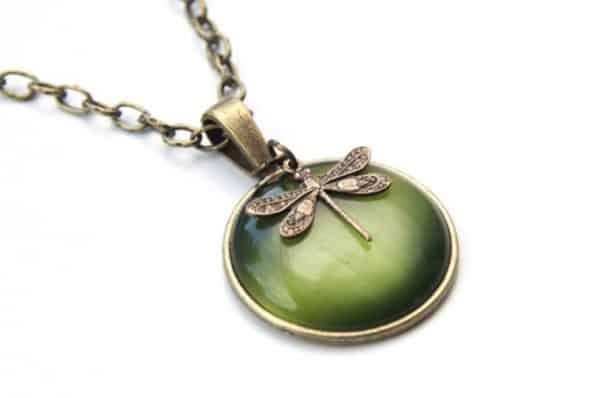 Vintage Halskette Grüne Libelle