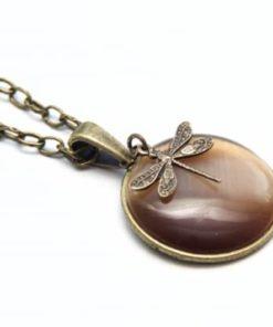 Vintage Halskette braune Libelle