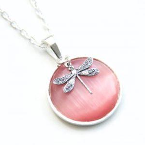 Zarte Halskette Rosa Libelle