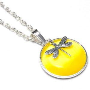 Zarte Halskette Gelbe Libelle