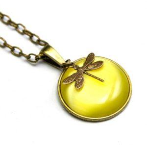 Vintage Halskette Gelbe Libelle