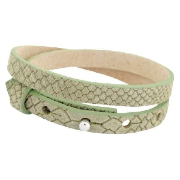 Lederarmband Reptil grün - doppelt gewickelt für Schiebeperlen