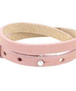 Lederarmband rosa - doppelt gewickelt für Schiebeperlen