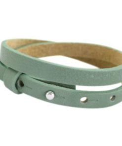 Lederarmband hellgrün - doppelt gewickelt für Schiebeperlen