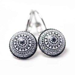 12mm Mosaik Ohrringe in Weiß / Schwarz