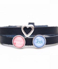 Blaues Lederarmband mit 2 Wunsch Namen und Herz - Farbwahl