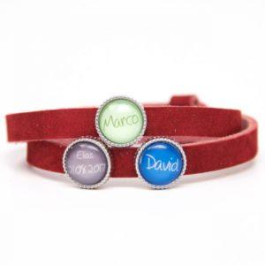 Rotes Lederarmband mit 3 Wunsch Namen - Farbwahl