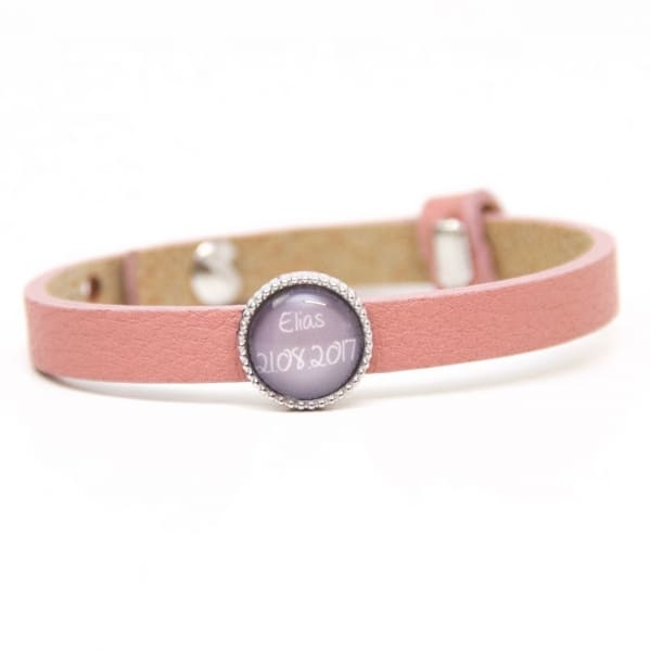 Lederarmband in Rosa mit 1 Wunsch Namen - Farbwahl