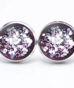 Druckknopf / Ohrstecker / Ohrhänger handbemalt violett mit silber Glitzer