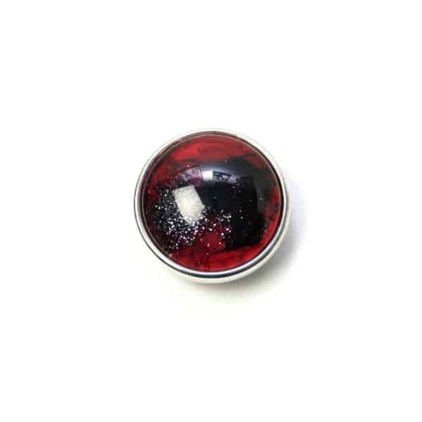 Druckknopf handbemalt in rot und scharz