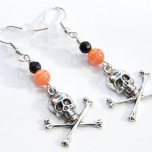 Totenkopf Ohrhänger in Orange und Schwarz