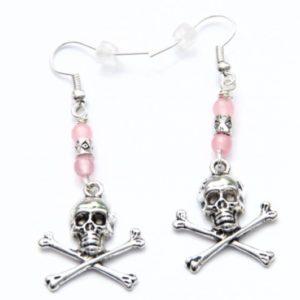 Totenkopf Ohrhänger in Rosa und Schwarz